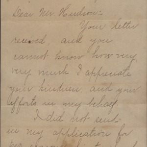 Correspondence Received by C. R. Hudson :: Cassius Rex Hudson Papers
