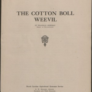 "Cooperative Extension publications ""The Cotton Boll Weevil,"" and ""North Carolina Boll-Weevil Program for 1924"""