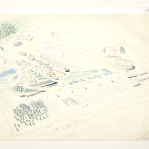 North Carolina State Fairgrounds: Aerial perspective with tents