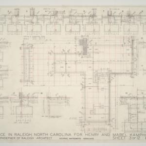 Henry L. and Mabel Kamphoefner Residence -- Foundation Plan and Footing Details