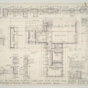 Henry L. and Mabel Kamphoefner Residence -- First Floor Plan and Framing Details