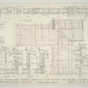 Henry L. and Mabel Kamphoefner Residence -- Framing Plan and Roof Details
