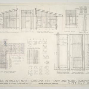 Henry L. and Mabel Kamphoefner Residence -- Interior Elevations and Cabinet Details
