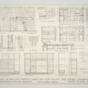 Henry L. and Mabel Kamphoefner Residence -- Fireplace, Cabinets and Kitchen Details