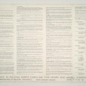Henry L. and Mabel Kamphoefner Residence -- Specifications