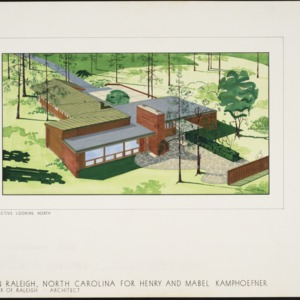 Perspective looking north -- Henry L. and Mabel Kamphoefner Residence, Raleigh, N.C.