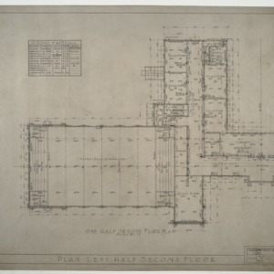 Needham B. Broughton Senior High School - One Half (Left) Second Floor Plan