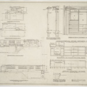 Administration building elevations, interior elevations and entrace details