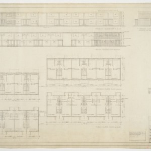 Building type X elevations and floor plans