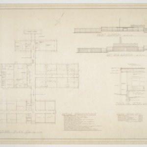 Floor plan, elevations and wall section