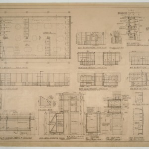 Library floor plan, elevations and miscellaneous details