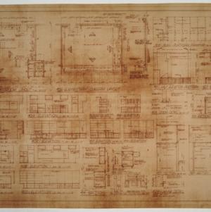 Classroom floor plan, interior elevations and framing details