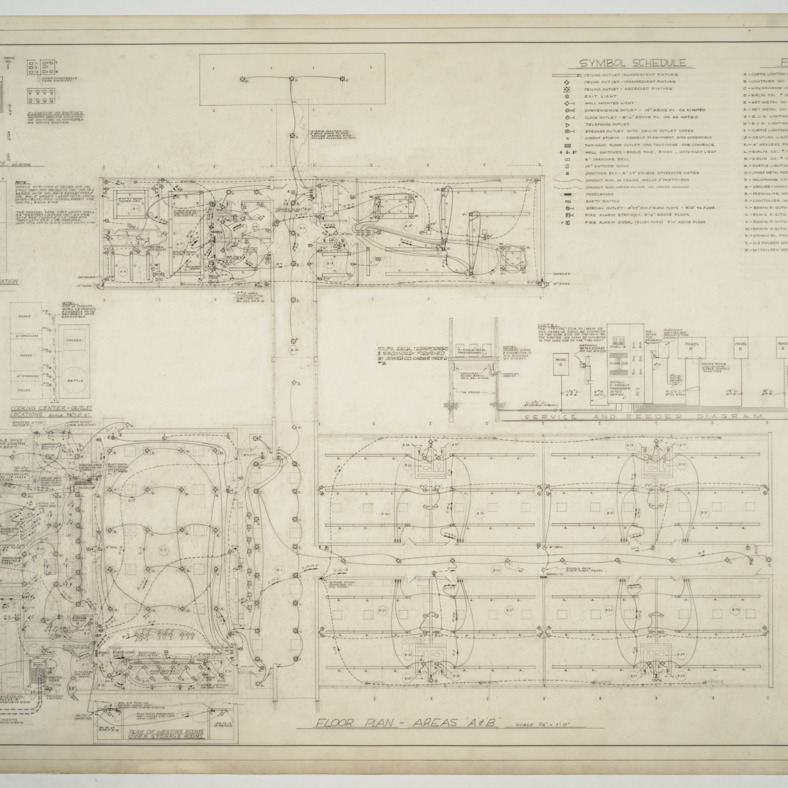 Areas 'A' and 'B' floor plan, electrical plan and schedule