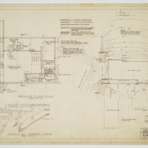 Ground floor plan, site plan and stairway sections