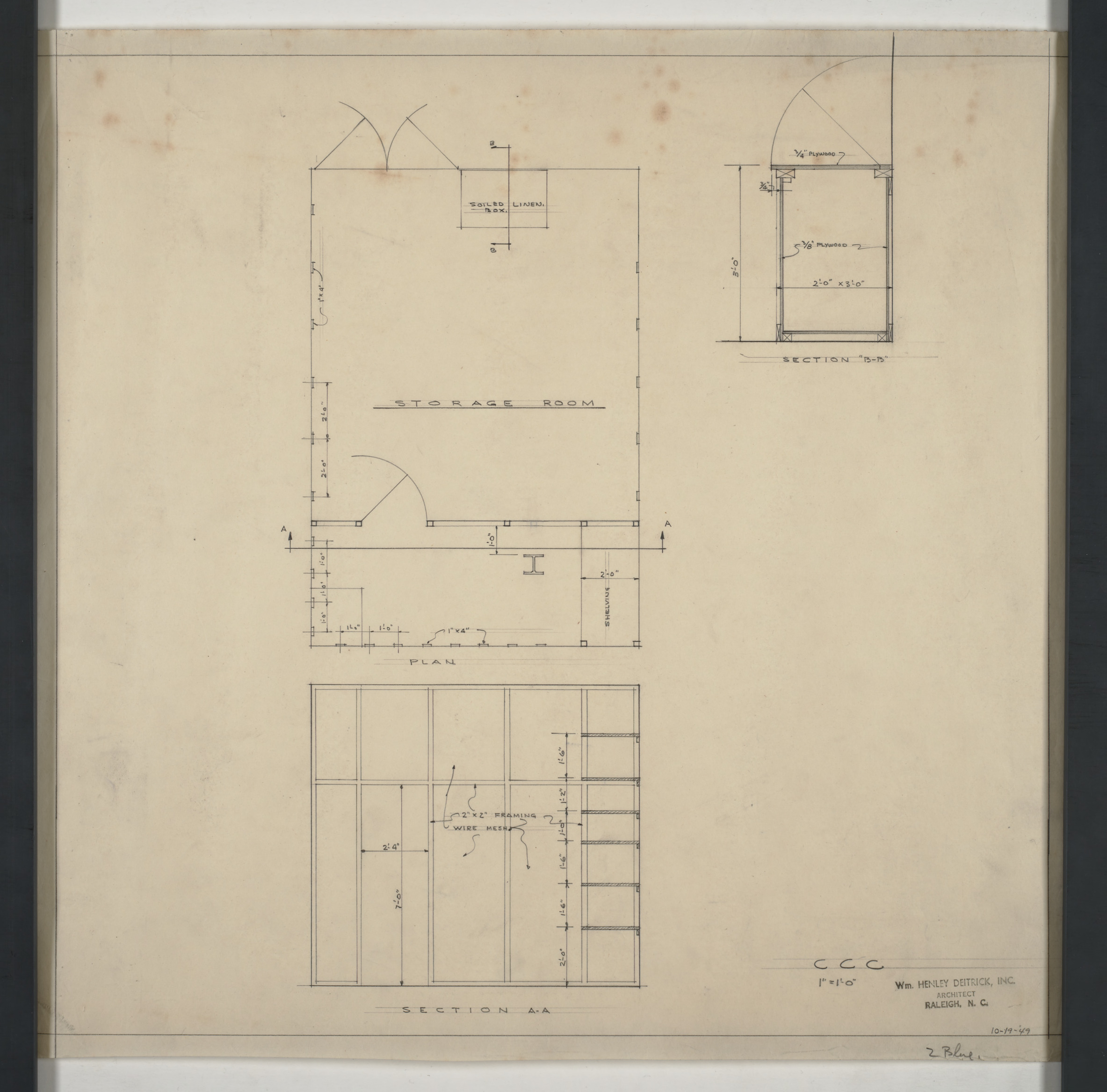 Carolina Country Club Storage Room Plan And Sections