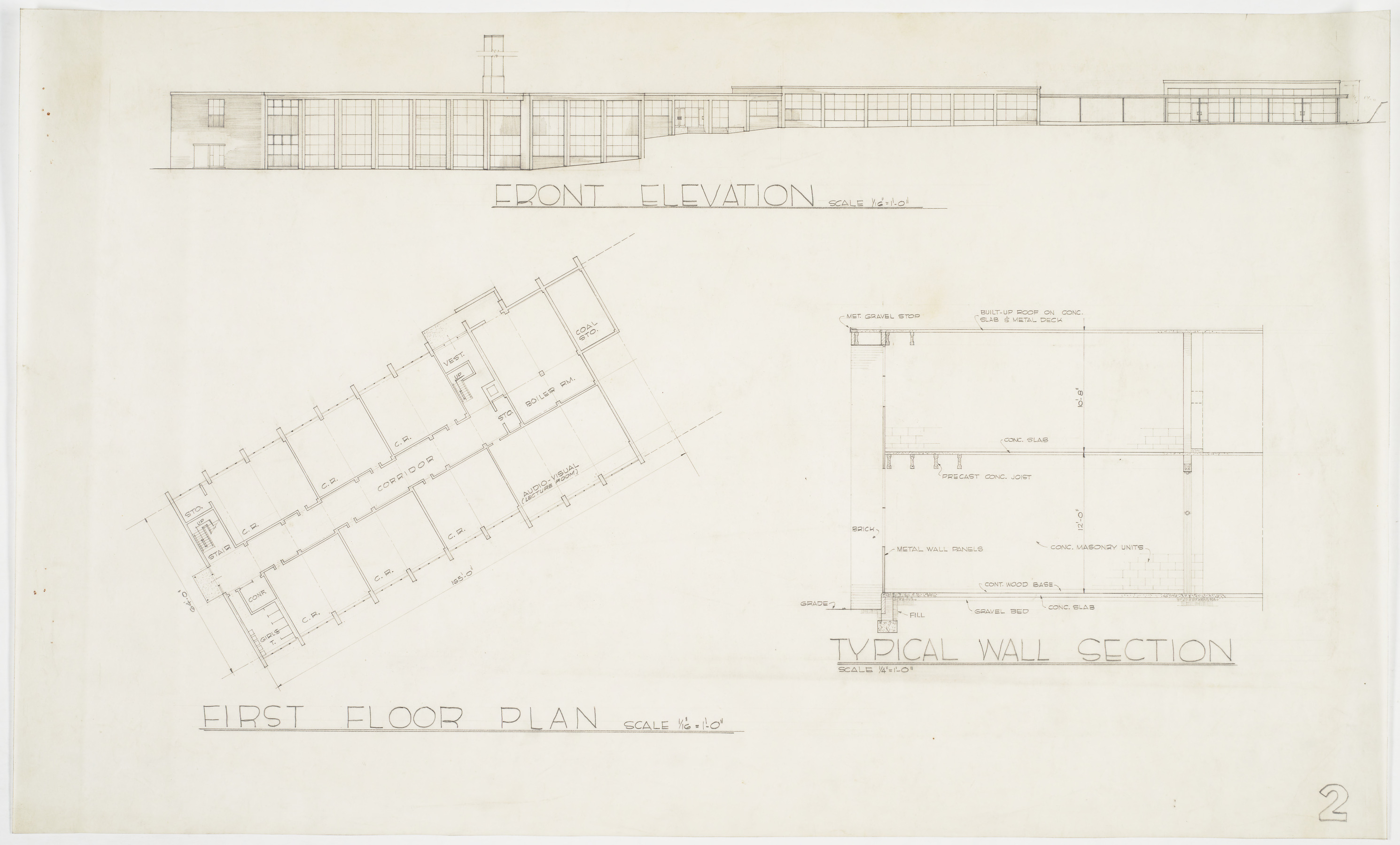 First Floor Plan Front Elevation Typical Wall Section