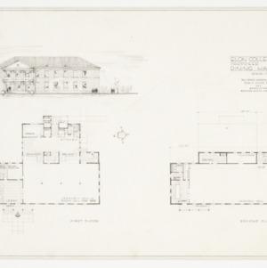 Elevation rendering and floor plans