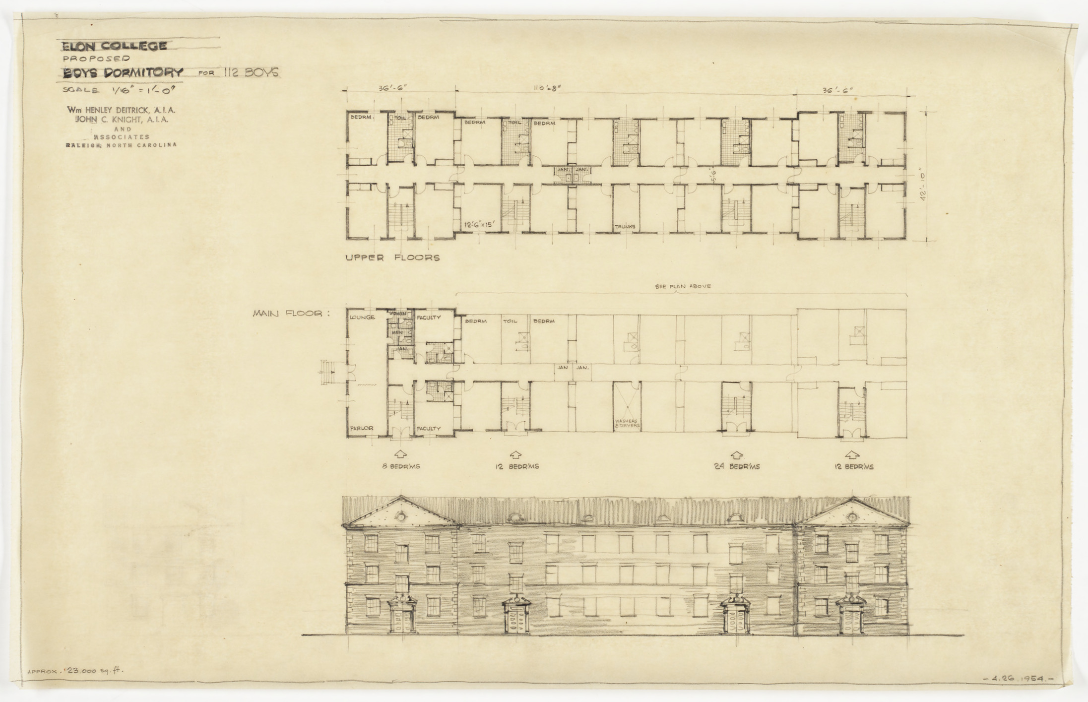 Floor plans and front elevation