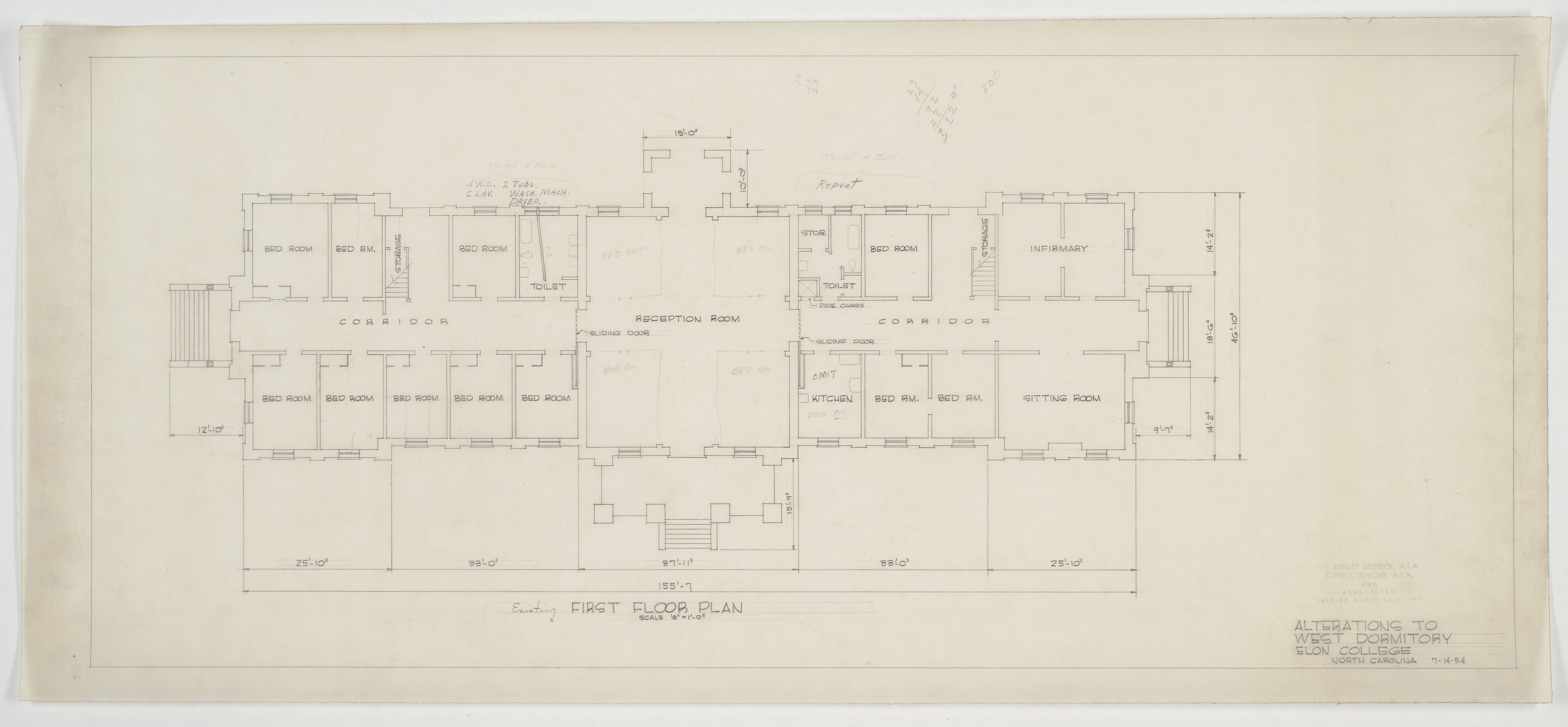 existing first floor plan elon college west dormitory