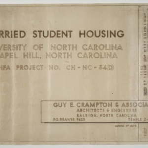 Married Student Housing, University of North Carolina, Chapel Hill -- Title Page and Schedule of Drawings
