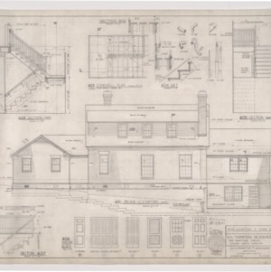 W. H. Thompson Residence -- Rear Elevation and Stair Details