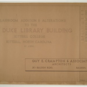 B.N. Duke Library Building, Classroom Addition and Alterations -- Title page and Index