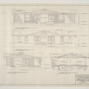 B.N. Duke Library, Faculty Housing -- Elevations and Cross Section, Two Bedroom Duplex