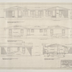 B.N. Duke Library, Faculty Housing -- Elevations and Cross Section, Three Bedroom Duplex