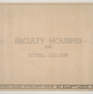 B.N. Duke Library, Faculty Housing -- Title Page