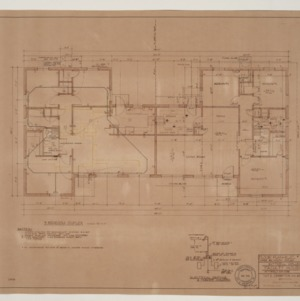 B.N. Duke Library, Faculty Housing -- Floor Plan, Electric and Heating Plan, Three Bedroom Duplex