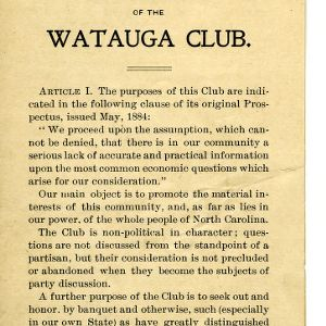 Constitution of the Watauga Club