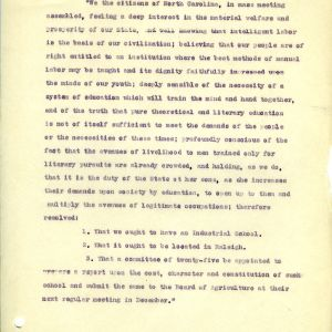Resolution of 1886 for North Carolina industrial school