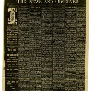 The News & Observer Vol. XXIII No. 2, May 15, 1884