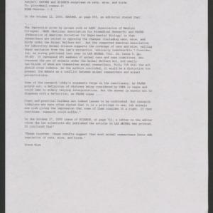 Animal Rights Debate: Correspondence, November-December 2000