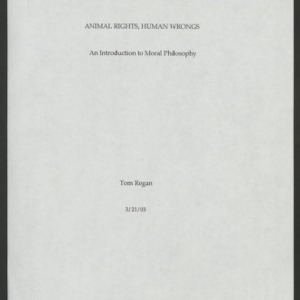 Animal Rights, Human Wrongs Manuscript: March 21, 2003