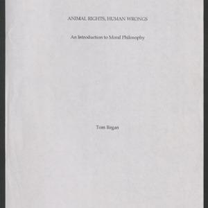 Animal Rights, Human Wrongs: Manuscript (Second Undated Draft)