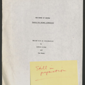 """""""The Worth of Brutes"""", Title Page and Table of Contents (Unpublished)"""
