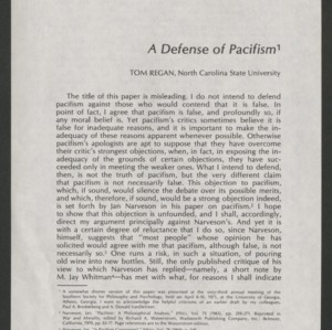A Defense of Pacifism: Offprint, 1972
