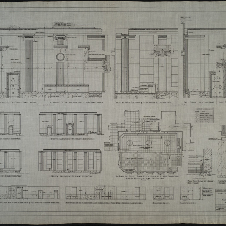 Courtroom elevations, details