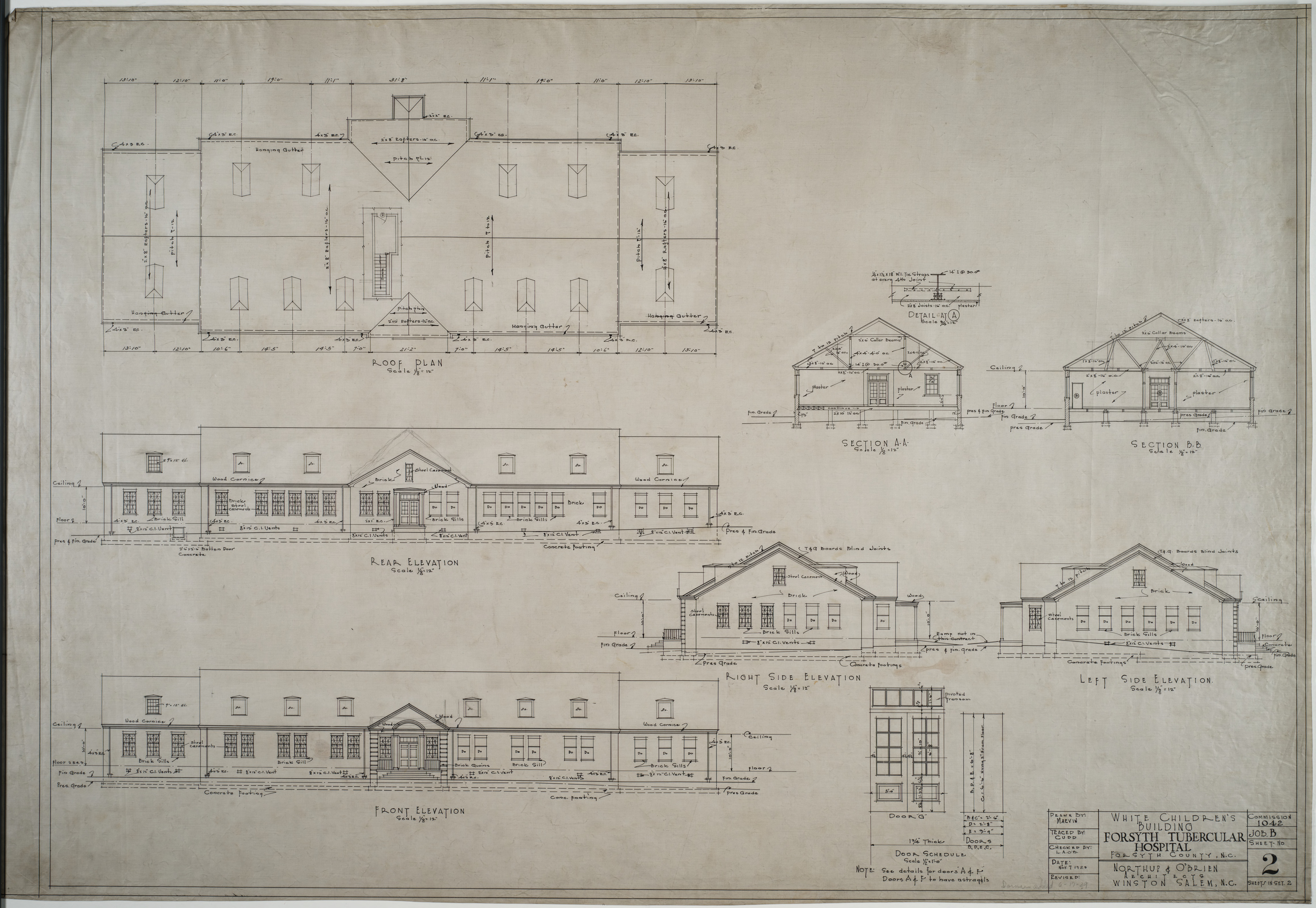 Plan Elevation Section Of Hospital : Roof plan elevations sections white children s building