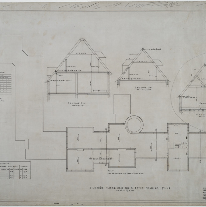 Second floor ceiling and attic framing plan