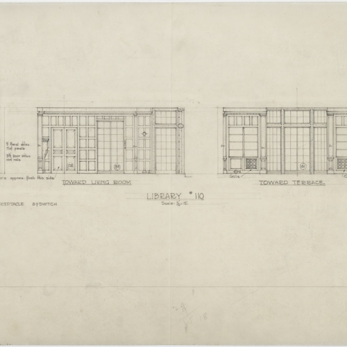 Elevation of interior of library