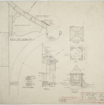 Elevations and floor plan of garden houses