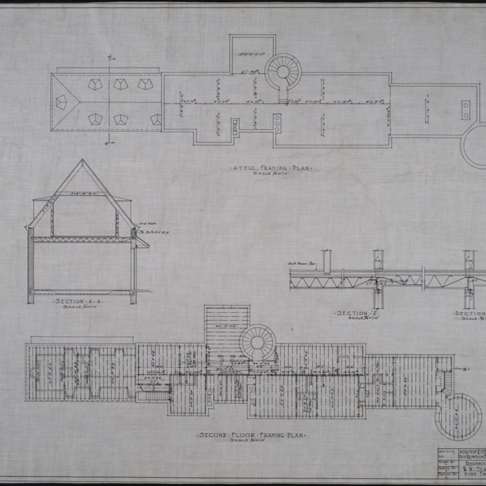 Attic framing plan, second story framing plan
