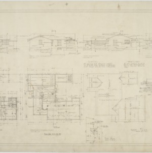 Basement plan, roof plan, first floor plan, elevations
