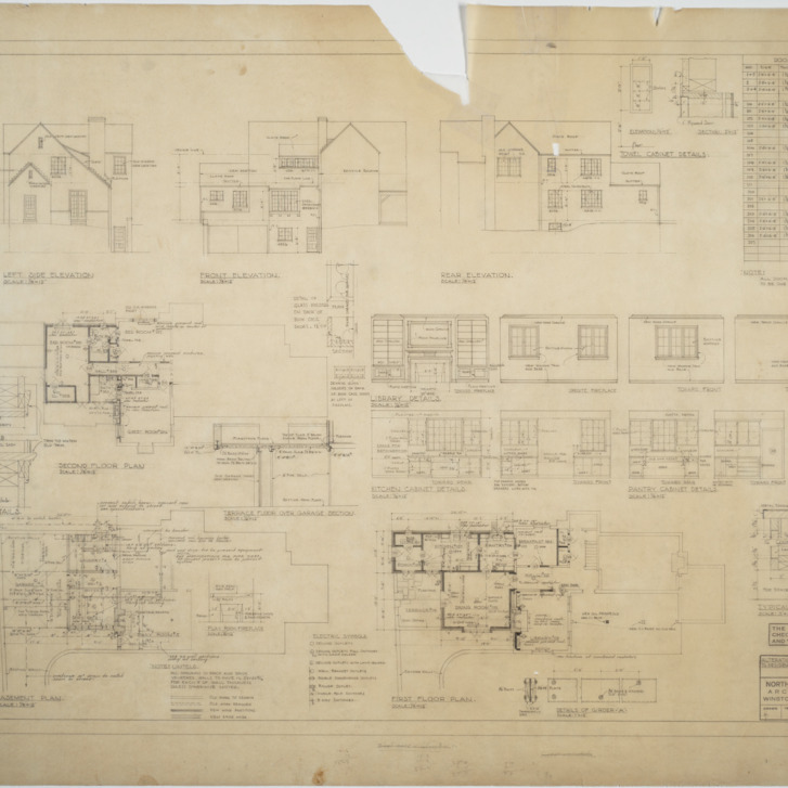 Basement plan, first floor plan, second floor plan, elevations, interior details
