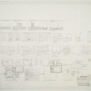 First floor plan, second floor plan, rear elevation, side elevation, interior elevations
