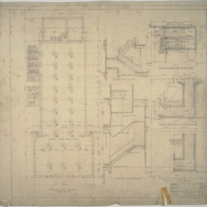 Footing plan, section of stairs