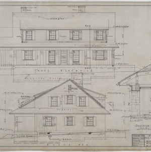 Front elevation, right end elevation, section
