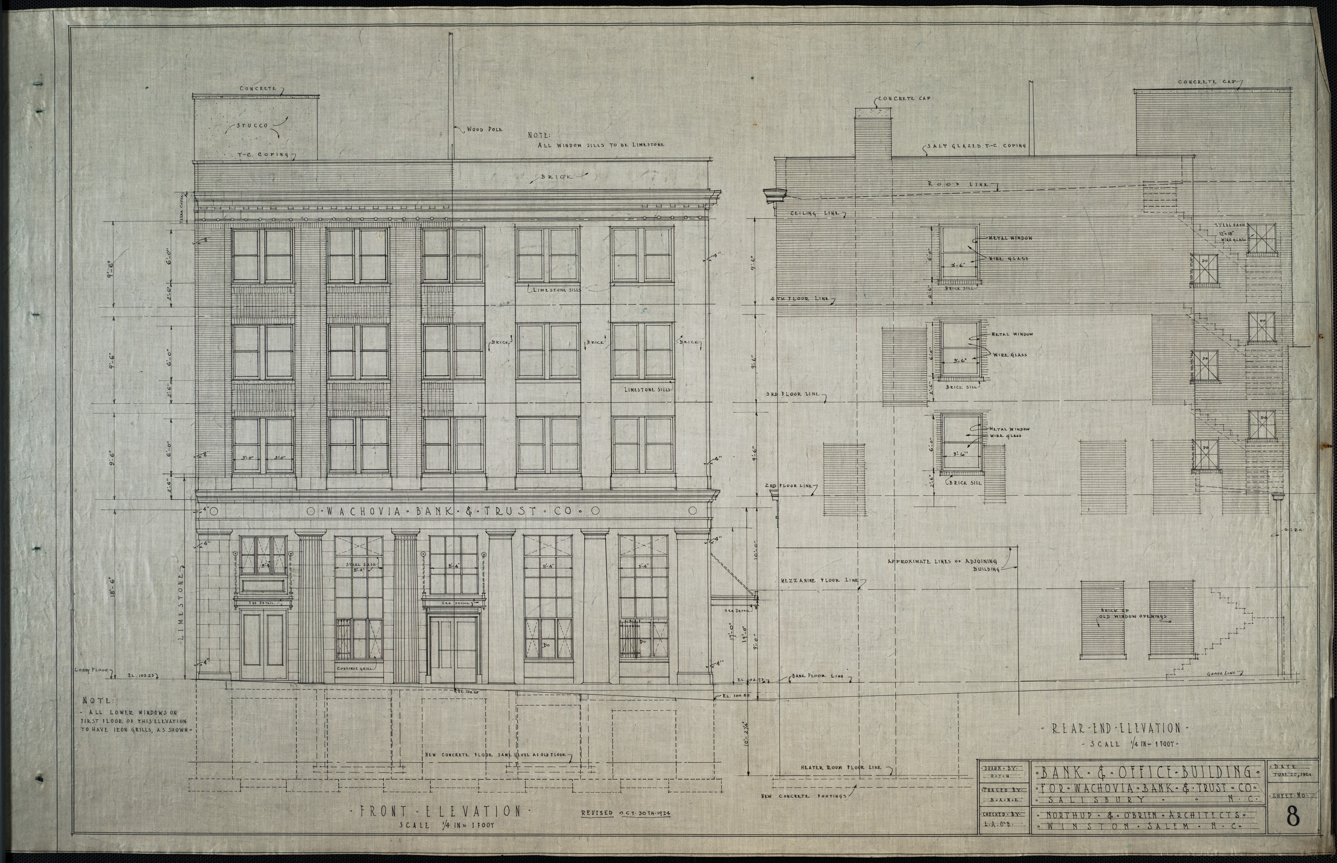 Front elevation rear end elevation wachovia bank and for What is rear elevation